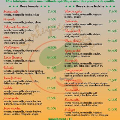 Dépliants Serlupio Pizza Verso